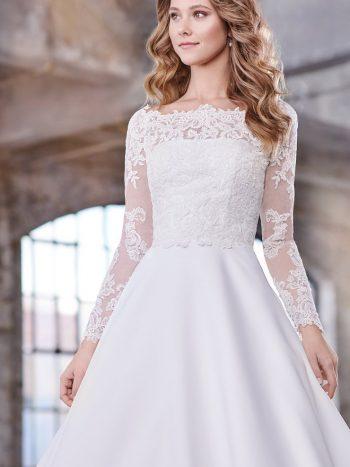 νυφικό-φόρεμα-γραμμή-πριγκιπική-σατέν-απλό-κλασσικό-δαντέλα-μακρυ-μανικι-219209-venetti-mon-cheri